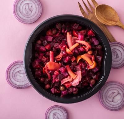 Салат Винегрет с лесными опятами  и ароматным маслом