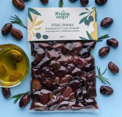 Маслины Каламата с косточкой маринованные с оливковым маслом