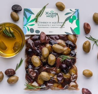 Оливки и маслины Каламата с косточкой маринованные с оливковым маслом