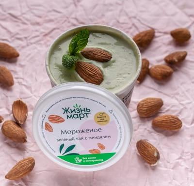 Мороженое Зелёный чай с миндалем