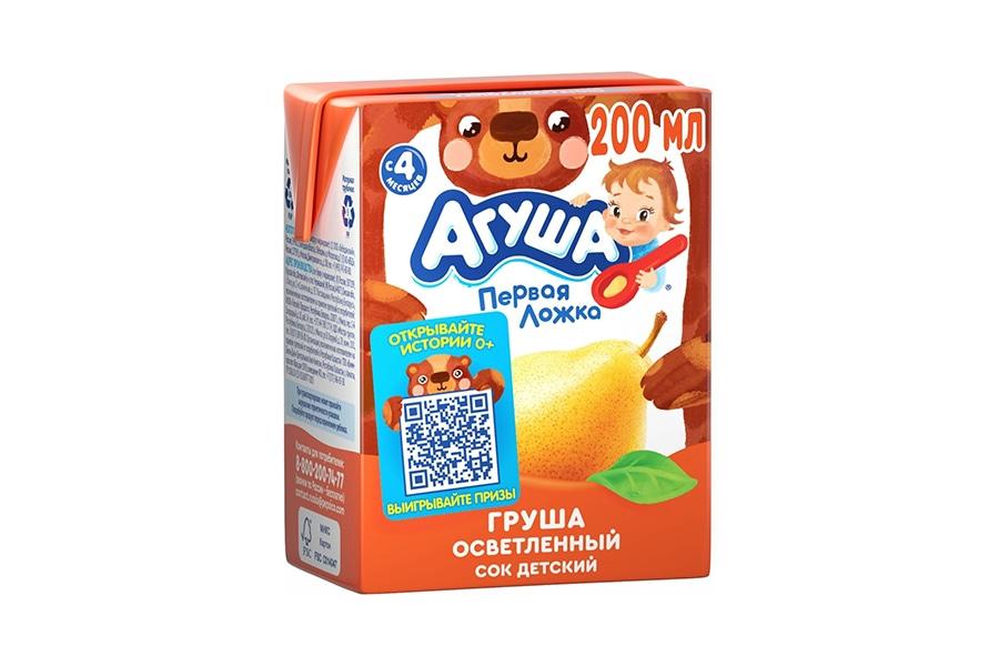 Сок груша Агуша 0,2л осветленный