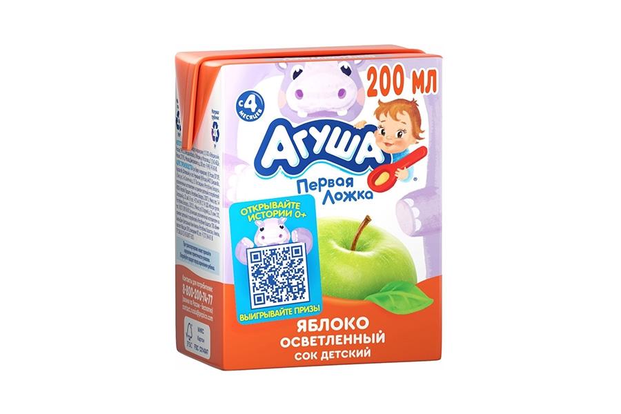 Сок яблоко Агуша 0,2л осветленный